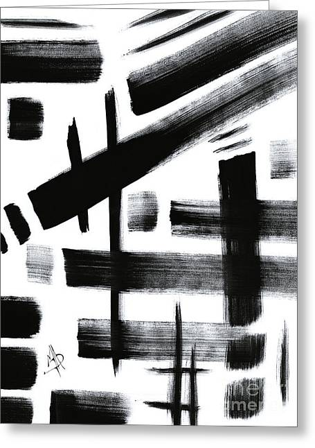 Abstract Black And White Original Unique Painting Black-white Iv By Madart Greeting Card by Megan Duncanson