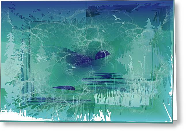 Greeting Card featuring the digital art Abstract Blue Green by Robert G Kernodle