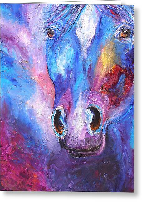 Abstract Blue Horse Greeting Card