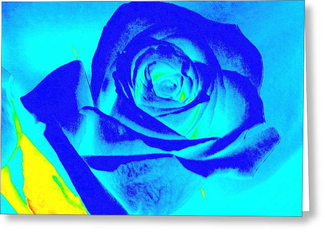 Single Blue Rose Abstract Greeting Card