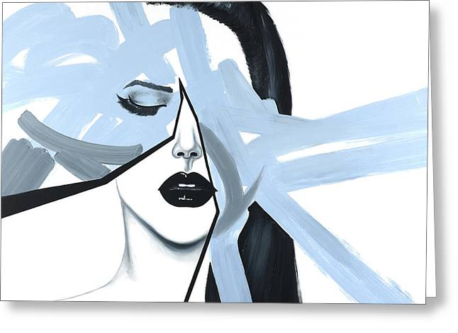 Abstract Blue Woman Portrait Greeting Card