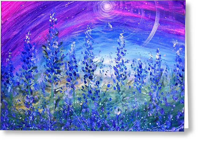 Abstract Bluebonnets Greeting Card