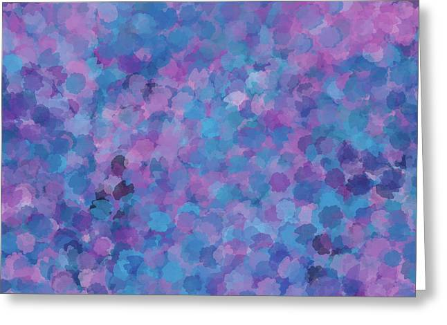 Greeting Card featuring the mixed media Abstract Blues Pinks Purples 3 by Clare Bambers