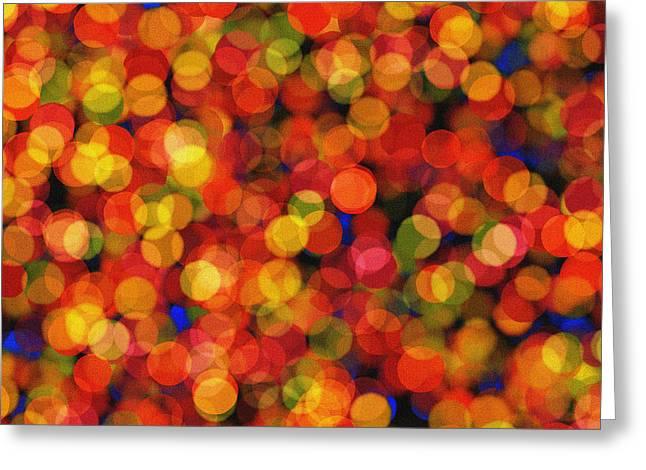 Abstract Bokeh - Orange Lights Greeting Card by Celestial Images