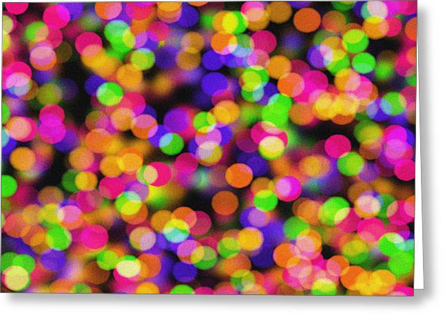 Abstract Bokeh - Pink Green Orange And Blue Lights Greeting Card by Celestial Images