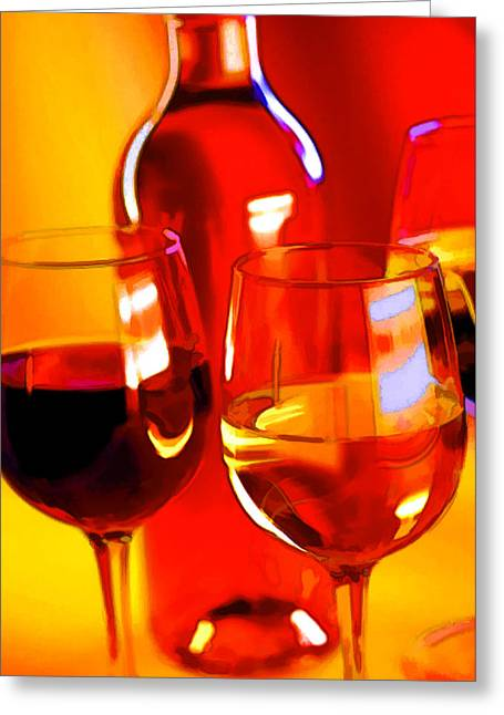 Sparkling Wines Digital Greeting Cards - Abstract Bottle of Wine and Glasses of Red and White Greeting Card by Elaine Plesser