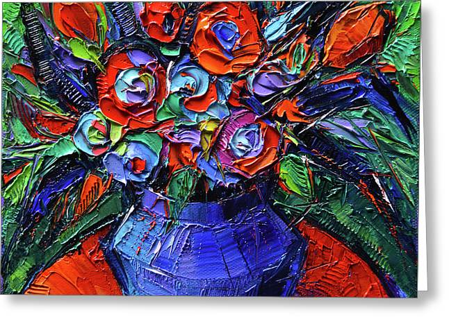 Abstract Bouquet On Vermilion Table - Impasto Palette Knife Oil Painting - Mona Edulesco Greeting Card