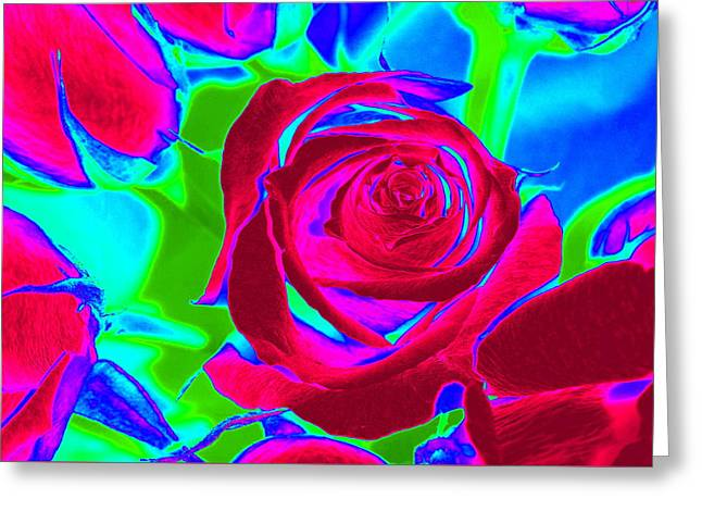 Abstract Burgundy Roses Greeting Card