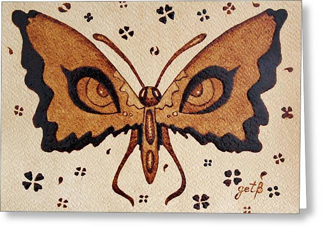 Abstract Butterfly Coffee Painting Greeting Card by Georgeta  Blanaru