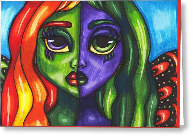 Abstract Butterfly Fairy Girl Greeting Card