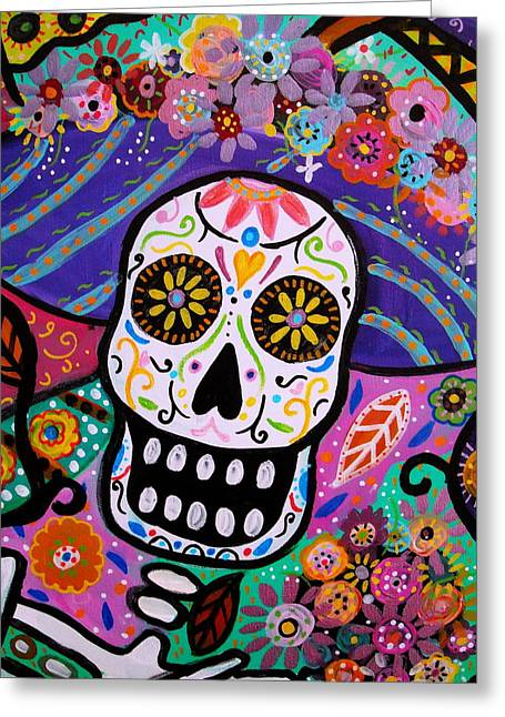 Abstract Catrina Greeting Card by Pristine Cartera Turkus