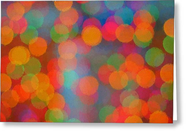 Abstract Circles Of Color  Greeting Card by Terry DeLuco