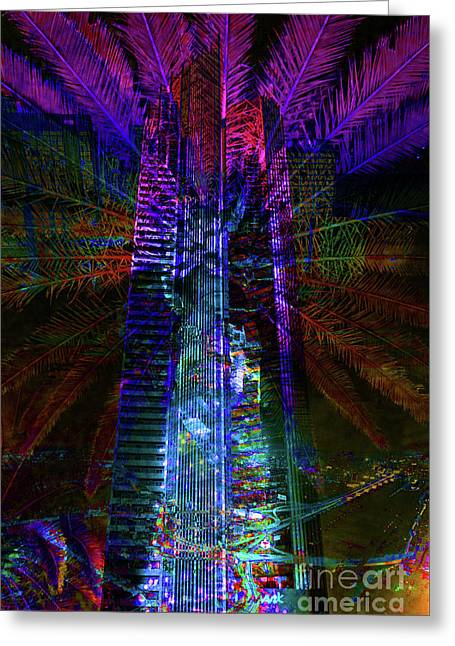 Abstract City In Purple Greeting Card by Barbara Dudzinska
