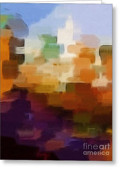 Abstract Cityscape Greeting Card by Lutz Baar