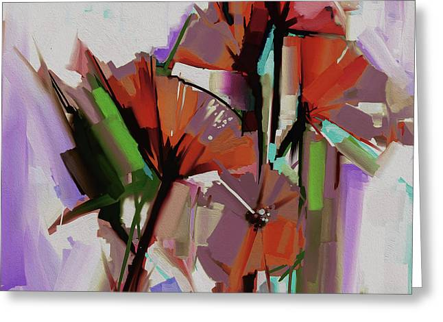 Abstract Colored Flowers 5501 Greeting Card
