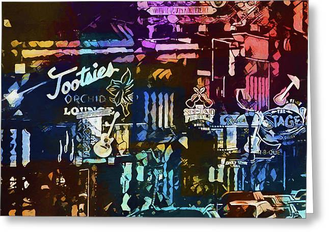 Abstract Colorful Downtown Nashville Greeting Card by Dan Sproul