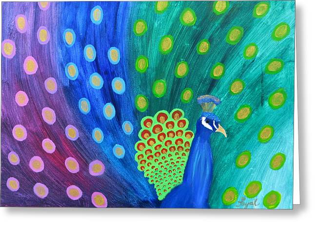 Abstract Colorful Peacock Greeting Card