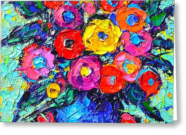 Abstract Colorful Wild Roses Modern Impressionist Palette Knife Oil Painting By Ana Maria Edulescu  Greeting Card
