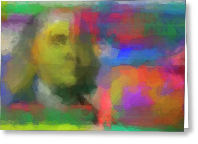 Abstract Colorized One Hundred Us Dollar Bill Abstract Colorized One Hundred Us Dollar Bill  Greeting Card