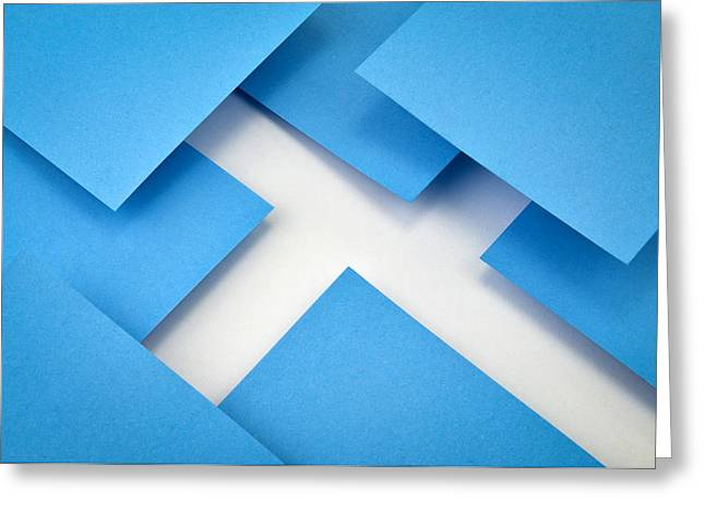 Abstract Composition With Blue Papers Greeting Card by Jozef Jankola