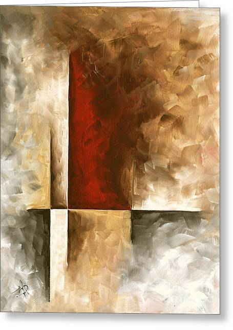 Abstract Contemporary Art Original Painting In Neutral Shades With Red Burnished I By Madart Greeting Card by Megan Duncanson
