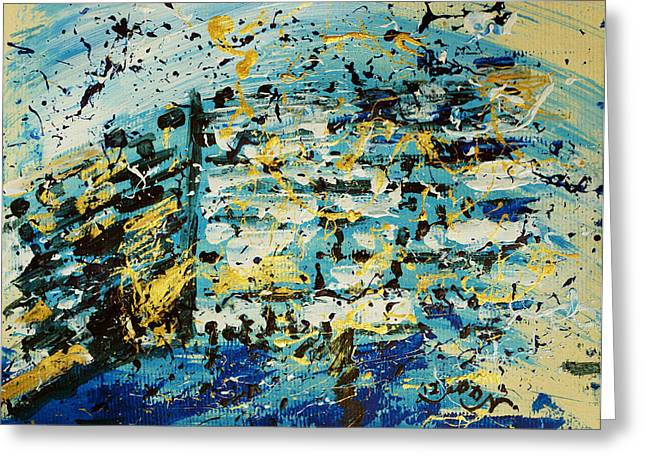 Abstract Contemporary Western Wall Kotel Prayer Painting With Splatters In Blue Gold Black Yellow Greeting Card