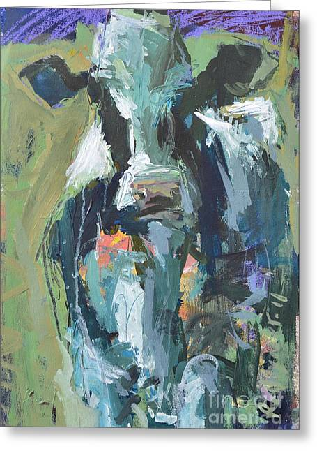 Greeting Card featuring the painting Abstract Cow Painting by Robert Joyner