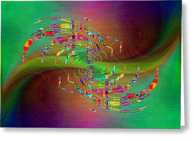 Greeting Card featuring the digital art Abstract Cubed 379 by Tim Allen