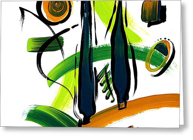 Abstract Cypress Trees Pop Art Style Original Painting Glory Days By Megan Duncanson Greeting Card by Megan Duncanson