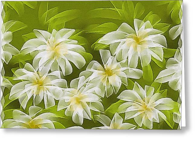 Abstract Daisies Greeting Card by Veronica Minozzi