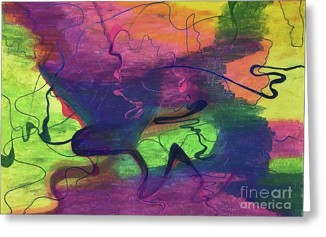 Colorful Abstract Cloud Swirling Lines Greeting Card
