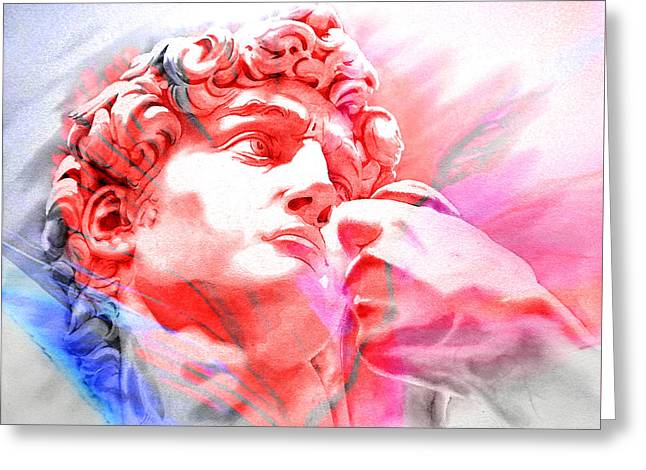 Greeting Card featuring the painting Abstract David Michelangelo 1 by J- J- Espinoza