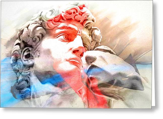Greeting Card featuring the painting Abstract David Michelangelo 2 by J- J- Espinoza