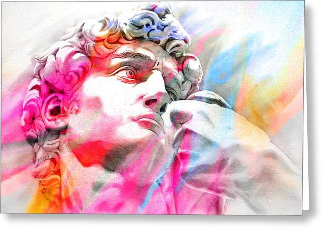 Greeting Card featuring the painting Abstract David Michelangelo 4 by J- J- Espinoza