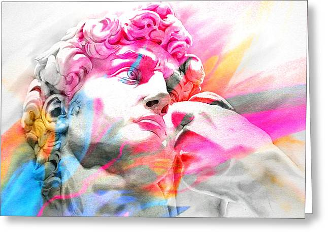 Greeting Card featuring the painting Abstract David Michelangelo 5 by J- J- Espinoza