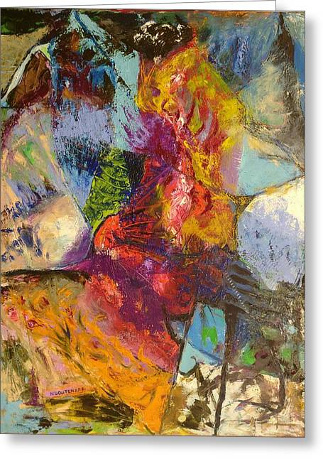Greeting Card featuring the painting Abstract Depths by Nicolas Bouteneff