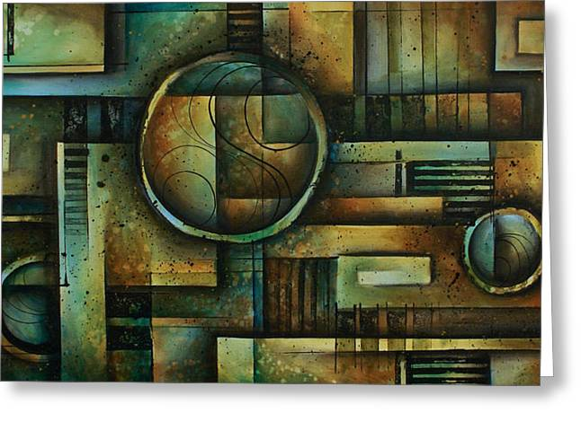 Geometric Shape Paintings Greeting Cards - Abstract Design 92 Greeting Card by Michael Lang