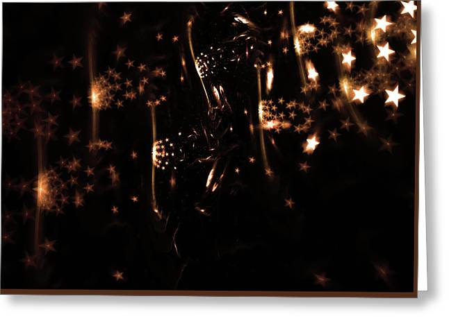 Abstract Design With Glowing Stars Greeting Card by StarLineArts