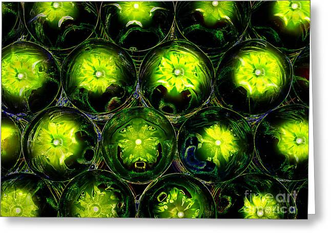 Abstract Digital Art Bubbles Flowers Greeting Card by Adriano Pecchio