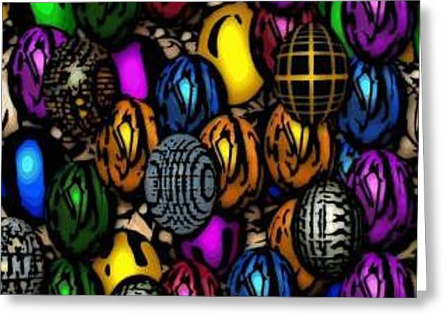 Abstract Digitial Eggs Greeting Card by Caroline Lifshey