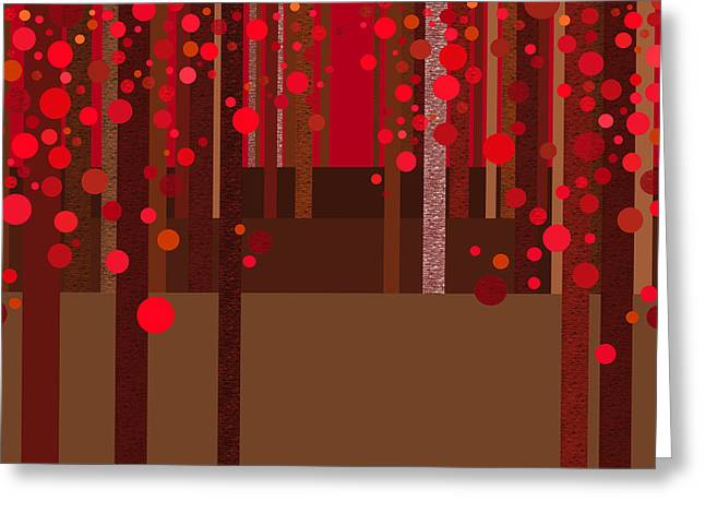 Abstract Dreamscape - Red Greeting Card