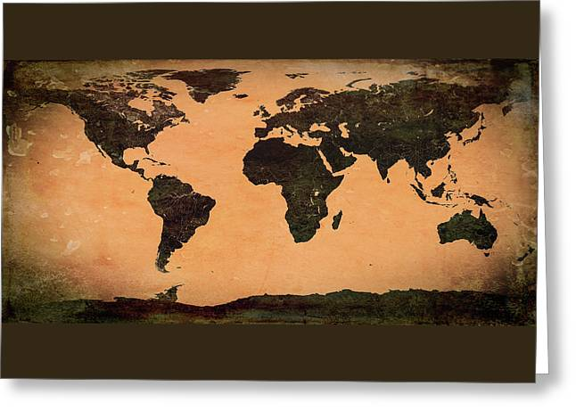 Abstract Earth Map Mural Greeting Card by Bob Orsillo
