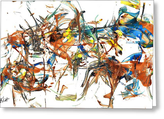 Greeting Card featuring the painting Abstract Expressionism Painting Series 1041.050812 by Kris Haas