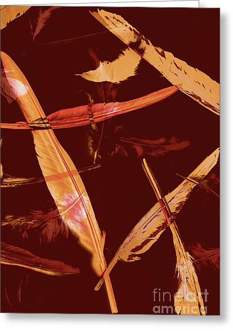 Abstract Feathers Falling On Brown Background Greeting Card