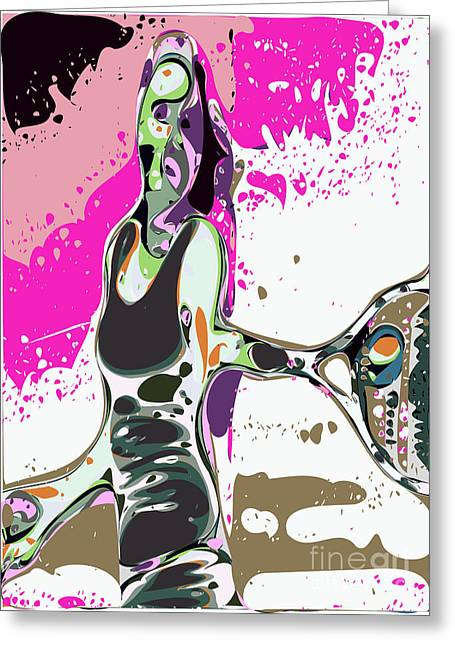 Abstract Female Tennis Player Greeting Card by Chris Butler