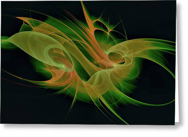 Greeting Card featuring the digital art Abstract Ffz by Deborah Benoit