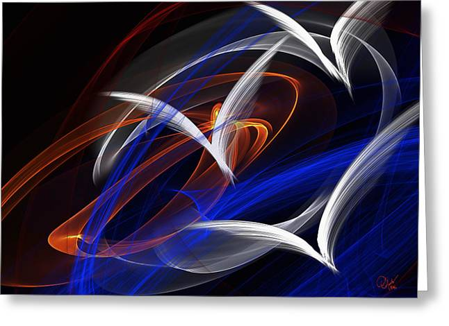 Abstract Flame Art 3 Birds Greeting Card