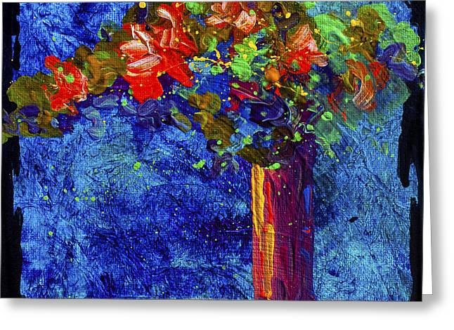 Landscape. Scenic Paintings Greeting Cards - Abstract Floral 2 Greeting Card by Marion Rose