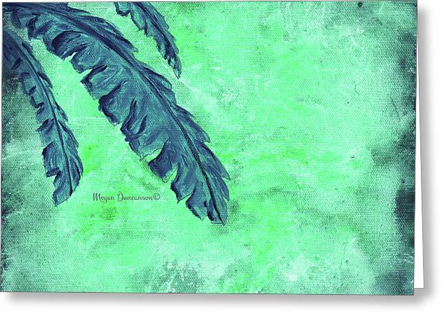 Abstract Floral Fauna Banana Leaf Tropical Aqua Splash Abstract Art By Megan Duncanson  Greeting Card by Megan Duncanson