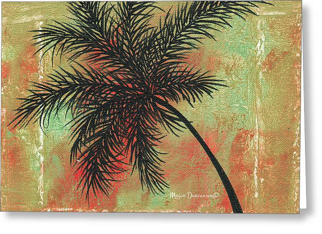 Abstract Floral Fauna Palm Tree Leaf Tropical Palm Splash Abstract Art By Megan Duncanson  Greeting Card by Megan Duncanson
